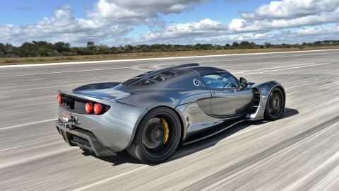 For a while the Venom GT was unofficially the fastest car in the world, hitting 270.5mph on a single run in 2014 at the Kennedy Space Center. Adapting the chassis of a Lotus Exige, the GT will go from 0-60mph in 2.7 seconds -- and 0-200mph in 14.5.<br />