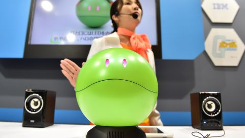 """""""Gundam Concierge Haro"""" was one of the many robots on display at CEA-TEC 2017."""