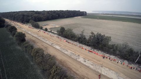 Activists protest at Hambach in August 2017.