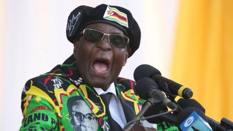 Zimbabwe's President Robert Mugabe delivers a speech during the Zimbabwe ruling party Zimbabwe African National Union- Patriotic Front (Zanu PF) youth interface Rally on November 4, 2017 in Bulawayo. / AFP PHOTO / ZINYANGE AUNTONY        (Photo credit should read ZINYANGE AUNTONY/AFP/Getty Images)