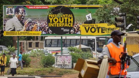 A banner of Mugabe remains outside the ZANU-PF headquarters in Harare on November 16.