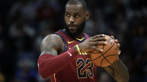 NEW ORLEANS, LA - OCTOBER 28:  LeBron James #23 of the Cleveland Cavaliers prepares to play the New Orleans Pelicans at the Smoothie King Center on October 28, 2017 in New Orleans, Louisiana.  NOTE TO USER: User expressly acknowledges and agrees that, by downloading and or using this photograph, User is consenting to the terms and conditions of the Getty Images License Agreement.  (Photo by Chris Graythen/Getty Images)