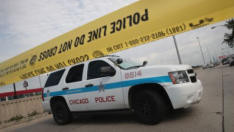Chicago police say the city's decline in killings and shootings continued for a 14th consecutive month in April.