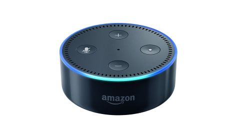 """<strong>A: Amazon Echo Dot ($49.99; </strong><a href=""""http://amzn.to/2hMuHvo"""" target=""""_blank"""" target=""""_blank""""><strong>amazon.com</strong></a><strong>) </strong>"""