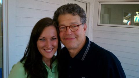 Franken poses with Lindsay Menz, a 33-year-old woman who now lives in Frisco, Texas.