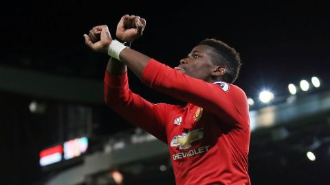 Manchester United's Paul Pogba celebrates after scoring against Newcastle United at Old Trafford on Saturday.