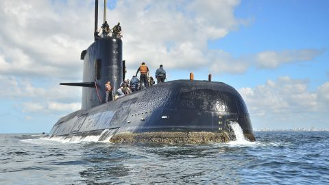 This undated photo provided by the Argentina Navy shows an ARA San Juan, a German-built diesel-electric vessel, near Buenos Aires, Argentina. Argentina's Navy said Friday, Nov. 17, 2017, it has lost contact with its ARA San Juan submarine off the country's southern coast. (Argentina Navy via AP )