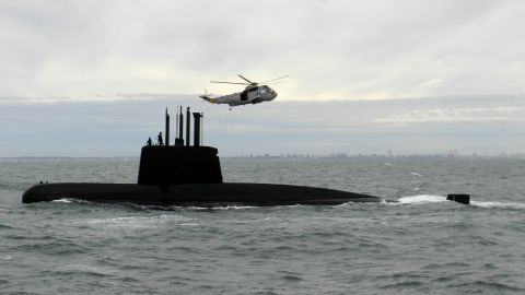 This 2013 photo provided by the Argentina Navy shows an ARA San Juan, a German-built diesel-electric vessel, near Buenos Aires, Argentina. Argentina's Navy said Friday, Nov. 17, 2017, it has lost contact with its ARA San Juan submarine off the country's southern coast. (Argentina Navy via AP )