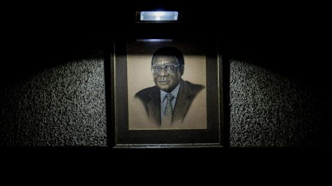 A portrait of Mugabe hangs in the hall of the  ZANU-PF headquarters, where delegates met for a special committee on November 19. Mugabe co-founded the party and had been its leader for decades.