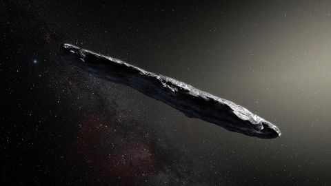A photo illustration shows the first interstellar asteroid: `Oumuamua. This unique object was discovered on 19 October 2017 by the Pan-STARRS 1 telescope in Hawai`i. Subsequent observations from ESO's Very Large Telescope in Chile and other observatories around the world show that it was travelling through space for millions of years before its chance encounter with our star system. `Oumuamuaseems to be a dark red highly-elongated metallic or rocky object, about 400 metres long, and is unlike anything normally found in the Solar System.