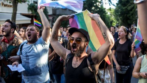 LGBT supporters march on June 25, 2017 in Istanbul, Turkey. That year's Pride March was banned by Istanbul authorities, but some organizers defied the order.