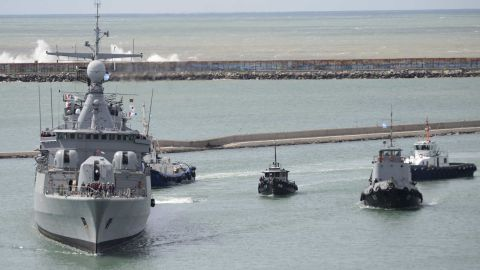A ship leaves an Argentine naval base Monday to join the search for the missing sub and its crew.