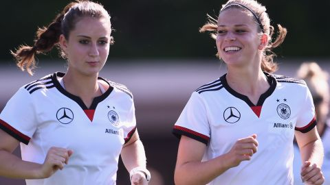 OTTAWA, ON - JUNE 04:  Sara Daebritz and Melanie Leupolz of Germany practice during a training session at Richcraft Recreation Complex on June 4, 2015 in Ottawa, Canada.  (Photo by Dennis Grombkowski/Bongarts/Getty Images)