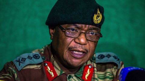 Gen. Constantino Chiwenga speaks during a news conference in Harare on Monday, November 20. Military leaders had been in talks with Mugabe over his exit, and Chiwenga said that progress had been made.
