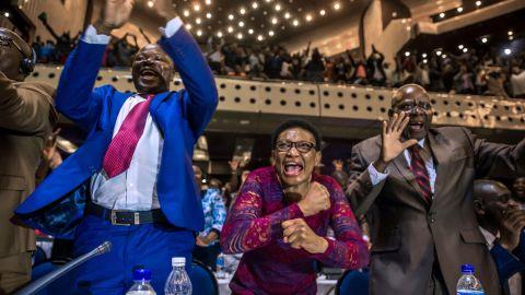 Parliamentarians celebrate Mugabe's resignation on Tuesday.