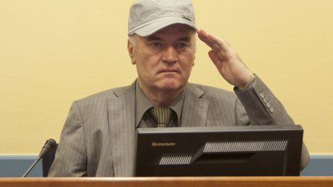 Ratko Mladic makes his first appearance at the International Criminal Tribunal on June 3, 2011 in The Hague, Netherlands. Ex-Bosnian Serb army leader Ratko Mladic will make his first appearance at The Hague war crimes tribunal after being declared fit to stand trial. Mladic was arrested a week ago after going into hiding for the past 16 years and is charged with atrocities committed during the Bosnian war. (Photo Serge Ligtenberg/Getty Images )