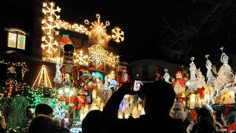 The Dyker Heights neighborhood in Brooklyn, New York, is known for its yearly display of over-the-top holiday decorations.