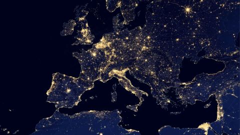 Europe with its network of bright city lights, 2012.
