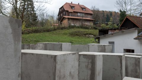 Activists erected a replica of the Berlin Holocaust Memorial outside the home of Alternative for Germany politician Björn Höcke.