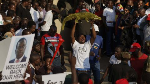 """A supporter holds up a toy to welcome Emmerson Mnangagwa, known as """"The Crocodile,"""" back to the country on Wednesday in Harare."""