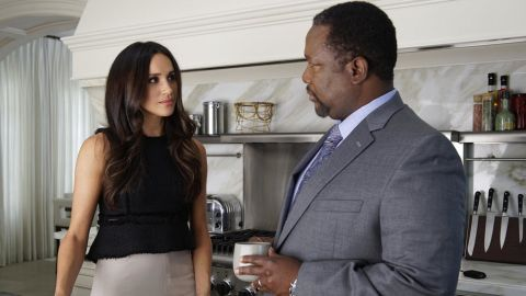 """Markle appears in the TV series """"Suits"""" with her on-screen father, played by actor Wendell Pierce."""