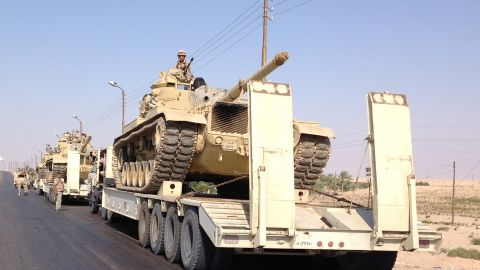 Egyptian military tanks are deployed in the northern Sinai town of Al-Arish on July 16, 2013. With an insurgency threatening its sensitive border with Israel, Egypt's military is preparing to go on the offensive against Sinai militants who have escalated attacks since president Mohamed Morsi's ouster. AFP PHOTO / STR        (Photo credit should read STR/AFP/Getty Images)