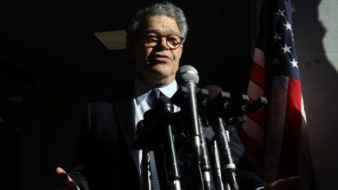 Sen. Al Franken, (D-MN) speaks to the media after returning back to work in the Senate on Capitol Hill on November 27, 2017 in Washington, DC. Franken took questions from reporters outside of his office in light of the multiple women accusing him of sexual misconduct.  (Photo by Mark Wilson/Getty Images)
