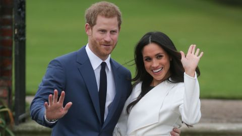 """Markle and Prince Harry pose for a photo at Kensington Palace following the <a href=""""http://edition.cnn.com/2017/11/27/europe/prince-harry-meghan-markle/index.html"""" target=""""_blank"""">announcement of their engagement</a> on November 27."""