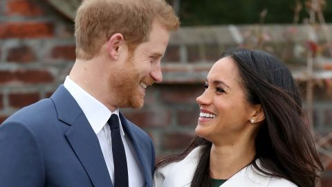 Prince Harry and Meghan Markle announce their engagement to the press.
