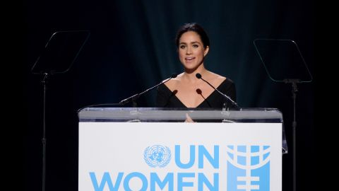 """Markle addresses a United Nations conference on International Women's Day in March 2015. """"I'm proud to be a woman and a feminist,"""" said Markle, who was named the UN Women's Advocate for Political Participation and Leadership."""