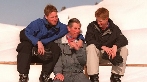 Prince Charles and his sons enjoy a ski holiday together in 2000.