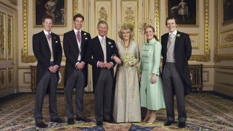 Harry, far left, joins a photo for his father's second marriage in 2005. After Harry, from left, are his brother; his father; his stepmother, Camilla; and Camilla's children, Laura and Tom Parker Bowles.