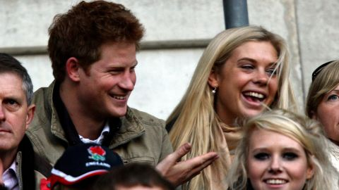 Harry and his girlfriend at the time, Chelsy Davy, watch a rugby match in London in 2009.