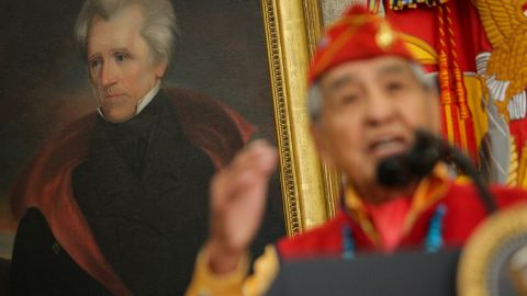 WASHINGTON, DC - NOVEMBER 27: (AFP OUT) A portrait of former President Andrew Jackson as Navajo code talker, Peter MacDonald speaks during an event hosted by President Donald Trump, honoring the Native American code talkers in the Oval Office of the White House, on November 27, 2017 in Washington, DC.