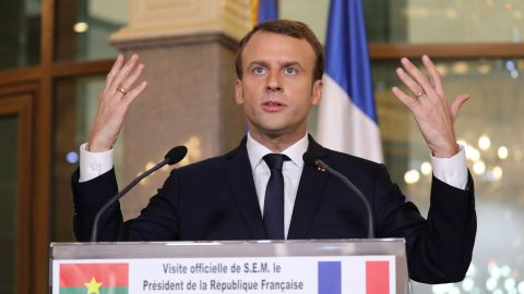 France's President Emmanuel Macron speaks during a press conferece Burkina Faso's President Roch Marc Christian Kabore at the Presidential Palace in Burkina Faso on November 28, 2017. / AFP PHOTO / POOL AND AFP PHOTO / LUDOVIC MARIN        (Photo credit should read LUDOVIC MARIN/AFP/Getty Images)