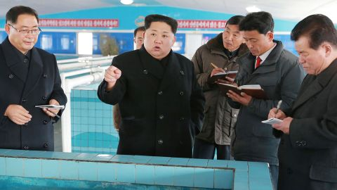 """This undated photo released by North Korea's official Korean Central News Agency (KCNA) on November 28, 2017 shows North Korean leader Kim Jong-Un at the newly built Sunchon Catfish Farm in South Pyongan Province. / AFP PHOTO / KCNA via KNS AND AFP PHOTO / - / South Korea OUT / REPUBLIC OF KOREA OUT   ---EDITORS NOTE--- RESTRICTED TO EDITORIAL USE - MANDATORY CREDIT """"AFP PHOTO/KCNA VIA KNS"""" - NO MARKETING NO ADVERTISING CAMPAIGNS - DISTRIBUTED AS A SERVICE TO CLIENTS THIS PICTURE WAS MADE AVAILABLE BY A THIRD PARTY. AFP CAN NOT INDEPENDENTLY VERIFY THE AUTHENTICITY, LOCATION, DATE AND CONTENT OF THIS IMAGE. THIS PHOTO IS DISTRIBUTED EXACTLY AS RECEIVED BY AFP.  /         (Photo credit should read -/AFP/Getty Images)"""