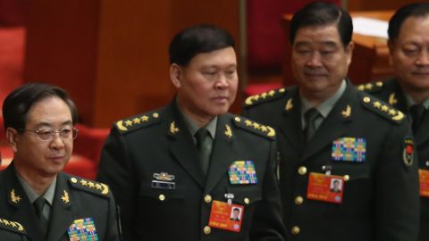 Disgraced Chinese General Zhang Yang (center) seen with other members of the country's Central Military Commission.