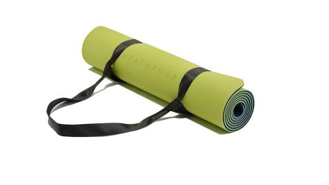 """<strong>Healthyoga Eco-Friendly Yoga Mat ($39.95; </strong><a href=""""https://amzn.to/2HpjlJF"""" target=""""_blank"""" target=""""_blank""""><strong>amazon.com</strong></a><strong>)</strong>"""