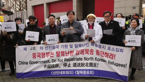 Demonstrators outside the Chinese embassy in Seoul on Wednesday.