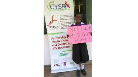 Jenipher Mukite, a teenager living with HIV at a community project for adolescents in Uganda.