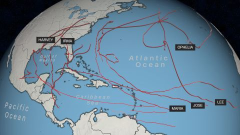 This map shows the paths of hurricanes from the 2017 season.