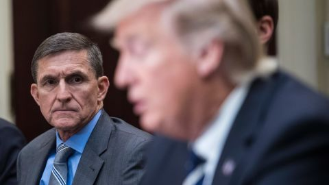 WASHINGTON, DC - JANUARY 31: National Security Adviser Mike Flynn listens to President Trump during a listening session with cyber security experts in the Roosevelt Room the White House in Washington, DC on Tuesday, Jan. 31, 2017. (Photo by Jabin Botsford/The Washington Post via Getty Images)