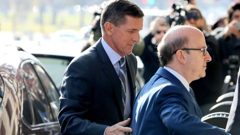 WASHINGTON, DC - DECEMBER 01:  Michael Flynn (L), former national security advisor to President Donald Trump, arrives for his plea hearing at the Prettyman Federal Courthouse December 1, 2017 in Washington, DC. Special Counsel Robert Muller charged Flynn with one count of making a false statement to the FBI.  (Photo by Chip Somodevilla/Getty Images)