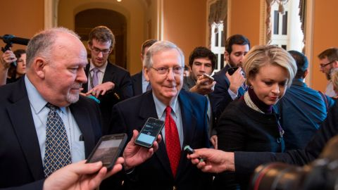 UNITED STATES - DECEMBER 01: Senate Majority Leader Mitch McConnell, R-Ky., walks to the Senate floor after saying to the media that Republicans have enough votes to pass the tax reform bill on December 1, 2017. (Photo By Tom Williams/CQ Roll Call)