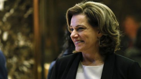 KT McFarland, President-elect Donald Trump's selection to be deputy national security adviser, steps off the elevator after meetings at Trump Tower on December 5, 2016 in New York.