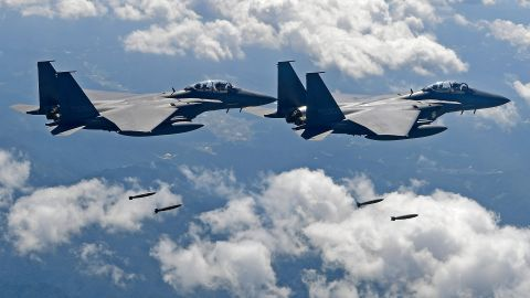 South Korean F-15K fighter jets are among the assets participating in military exercises designed to defend the Dokdo Islands.