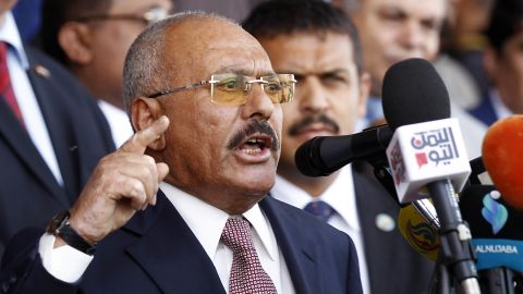 Yemen's ex-president Ali Abdullah Saleh gives a speech addressing his supporters during a rally as his General People's Congress party, marks 35 years since its founding, at Sabaeen Square in the capital Sanaa on August 24, 2017.  The rally comes amid reports that armed supporters of Saleh and the head of the country's Huthi rebels, who have been allied against the Saudi-backed government since 2014, had spread throughout the capital as tensions are rising between the two sides. / AFP PHOTO / MOHAMMED HUWAIS        (Photo credit should read MOHAMMED HUWAIS/AFP/Getty Images)