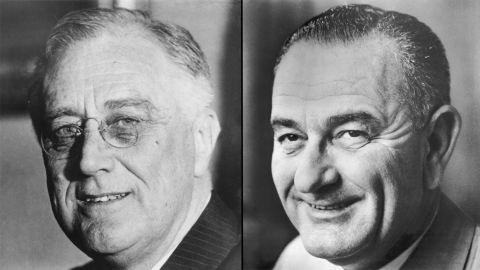 Franklin D. Roosevelt, left, and Lyndon B. Johnson, right.