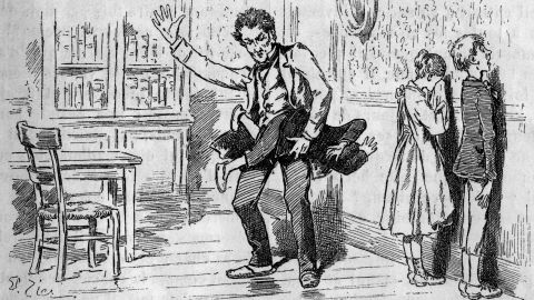 """Spanking was common in Europe, as well. This illustration from the weekly French youth publication La Jeunesse illustre, published between 1903 and 1935, shows a teacher spanking a student while two others wait with faces to the wall. Today, a growing body of research shows that spanking can lead to aggression and mental illness later in life; one <a href=""""https://www.ncbi.nlm.nih.gov/pmc/articles/PMC2896871/"""" target=""""_blank"""" target=""""_blank"""">2009 study</a> showed that """"harsh punishment"""" -- defined as being struck with objects like a belt, paddle or hairbrush at least 12 times a year for a period of three years -- produced less gray matter in the brains of children."""