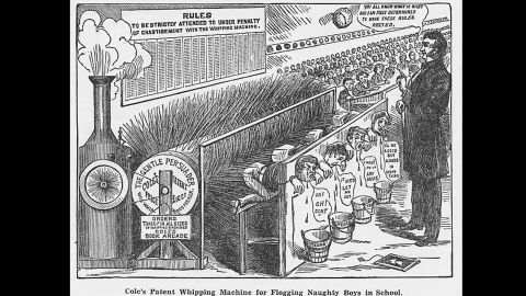"""An 1879 drawing from """"Cole's Funny Picture Book,"""" one of many created by Australian E.W. Cole, billed as the """"Cheapest Child's Picture Book ever published."""" The drawing illustrates """"the macabre Snooks' Patent whipping machine for flogging naughty boys in school,"""" says the <a href=""""https://www.nla.gov.au/blogs/behind-the-scenes/2016/07/13/mr-cole-his-funny-picture-books"""" target=""""_blank"""" target=""""_blank"""">National Library of Australia</a>."""